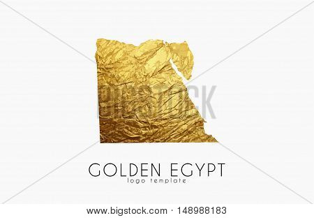 Egypt map. Golden Egypt logo. Creative Egypt logo design