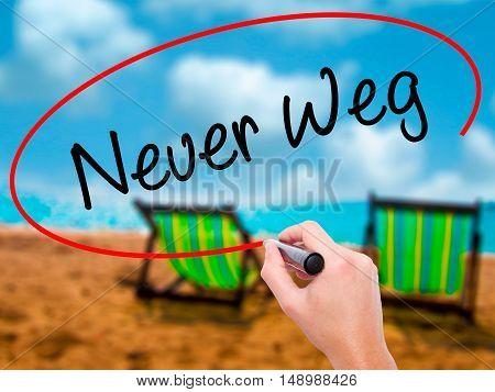 Man Hand Writing Neuer Weg  (new Way In German) With Black Marker On Visual Screen