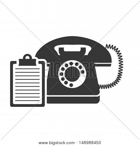 retro telephone device with report table paper  icon silhouette. vector illustration
