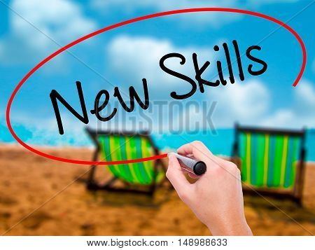 Man Hand Writing New Skills With Black Marker On Visual Screen