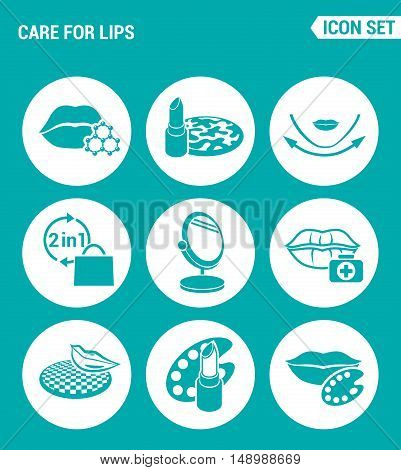 Vector set web icons. Care for lips lipstick face texture two in one mirror cracking lips the color palette the color palette. Design of signs symbols on a turquoise background