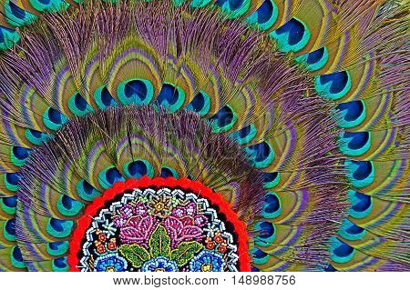 Background with folk motif decoration at one hat with peacock feathers. Specific for Bistrita-Nasaud area Romania.