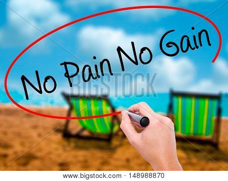 Man Hand Writing No Pain No Gain With Black Marker On Visual Screen