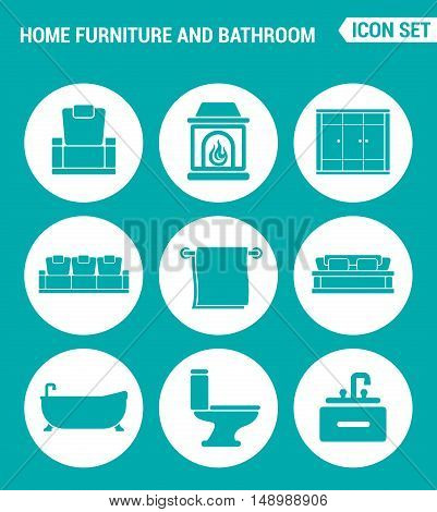 Vector set web icons. Home furniture and bathroom armchair fireplace wardrobe sofa towel bath toilet washbasin. Design of signs symbols on a turquoise background