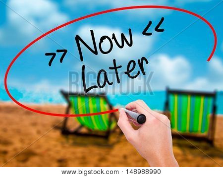 Man Hand Writing Now/later With Black Marker On Visual Screen.