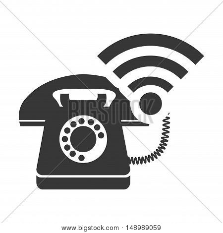 retro telephone device with wireless  icon silhouette. vector illustration