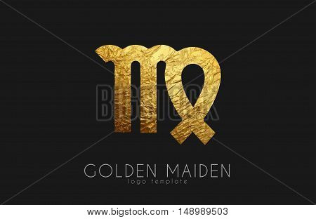 Golden maiden. Golden zodiac sign. Maiden zodiac