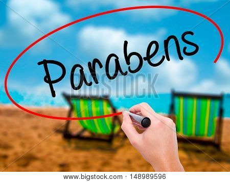 Man Hand Writing Parabens (happy Birthday In Portuguese) With Black Marker On Visual Screen