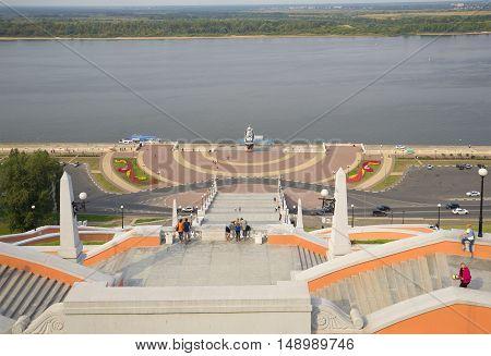 NIZHNY NOVGOROD, RUSSIA - AUGUST 27, 2015: Top view on the Chkalovsky (Volga) the stairs. Historical landmark of the city Nizhny Novgorod