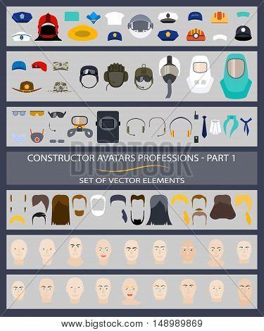 Constructor avatars professions - Part 1. Set of vector elements.