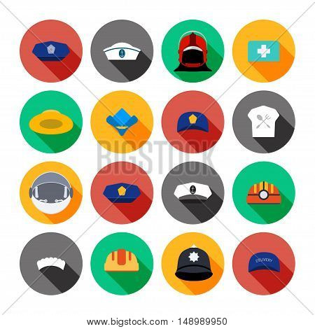 Set of vector isolated icons of hats.