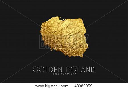 Poland map. Golden Poland logo. Creative Poland logo design