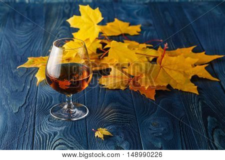 Autumn Relaxing Scene With Glass Of Whiskey