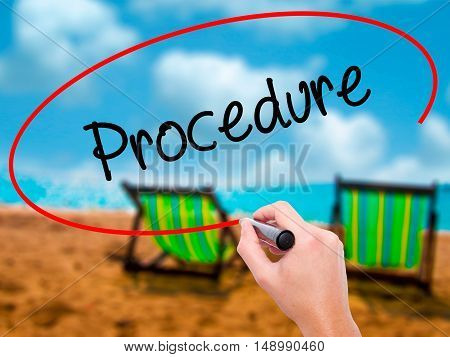 Man Hand Writing Procedure With Black Marker On Visual Screen