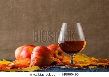 Glasses Of Cognac On Table. It Serves Fruit Brandy.