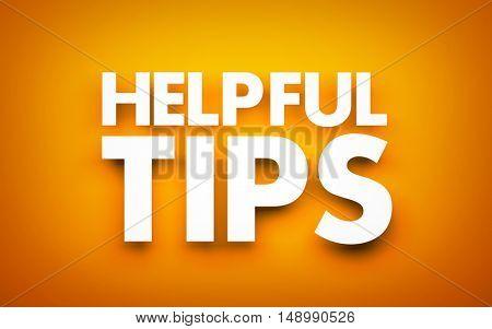 Helpful tips. 3d illustration