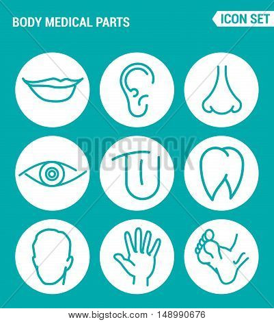 Vector set web icons. Body medical parts lips ears nostrils eyes tongue teeth head hand legs. Design of signs symbols on a turquoise background