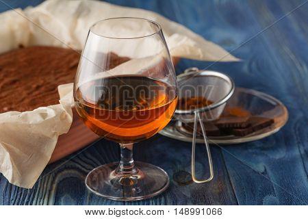 Cup Of Espresso Coffee, Sugar, Cane Sugar, Brandy, Cardamom, Special Light, Selective Focus.