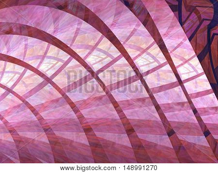 Abstract technology background - computer-generated image. Fractal geometry: chaos curls with grid and lights effect. Tech backdrop for banners, posters, web design.