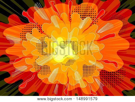 Vector illustrated comic book style explosion background.