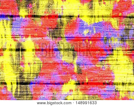Abstract colored wooden background - computer-generated image. Imitation wood texture. Old roagh uneven boards with with spots and streaks of yellow, red and purple paint. Backdrop for banners, posters, web design.