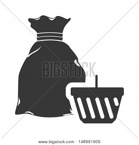 money sack symbol and shopping basket icon silhouette. vector illustration