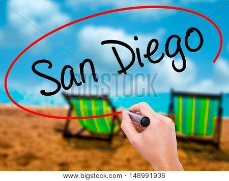 Man Hand Writing San Diego With Black Marker On Visual Screen