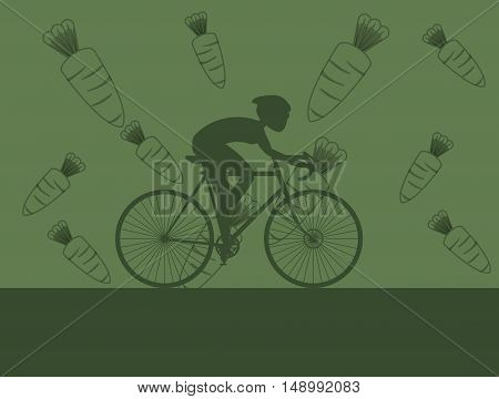 flat design cyclist  with carrot background image vector illustration