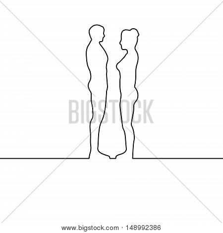 man and woman drawn with one line, the groom and the bride, concept of the relationship between a girl and guy, circuit couples. Vector illustration for print or website design
