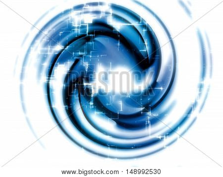 Abstract fractal - computer-generated image. Digital art - bright glowing circle and flowing waves. Graphic design element for web design, covers, posters.