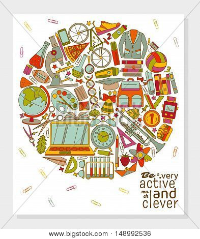 Be active and clever background. Round shape. Vector illustration