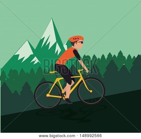 flat design cyclist with mountain background image vector illustration