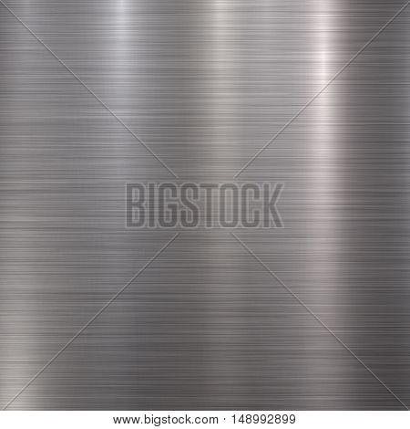 Metal abstract technology background with polished, brushed texture, chrome, silver, steel, aluminum for design concepts, web, prints, posters, interfaces. Vector illustration.