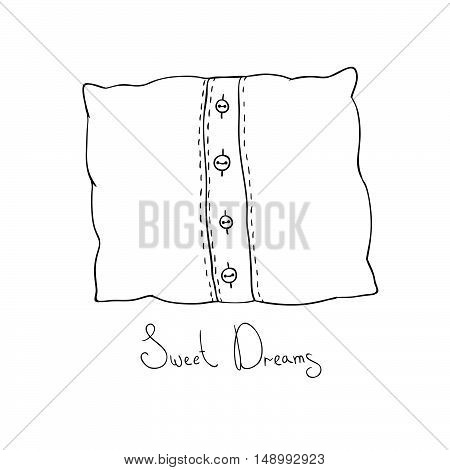 Pillow with buttons. Cushion vector illustration. Coloring book