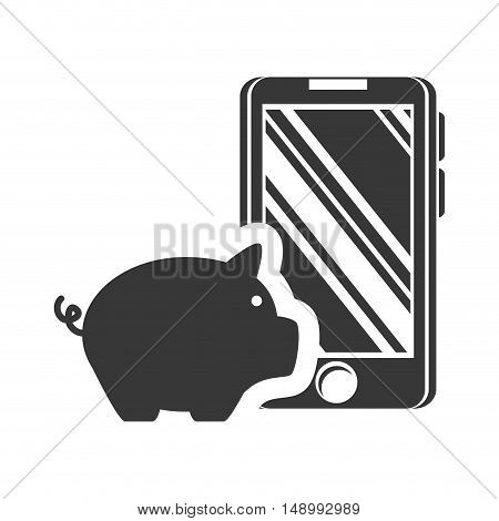 piggy moneybox with smartphone device icon silhouette. vector illustration