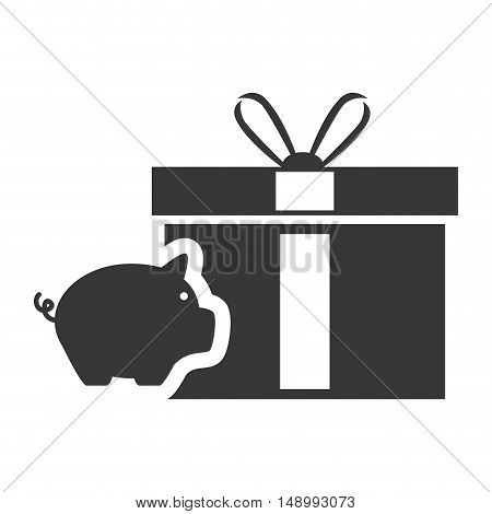 piggy moneybox with gift box icon silhouette. vector illustration