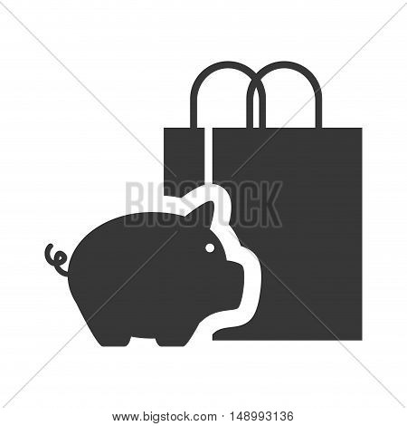 piggy moneybox with shopping bag icon silhouette. vector illustration