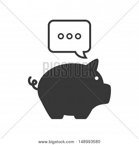 piggy moneybox with speech communication bubble icon silhouette. vector illustration