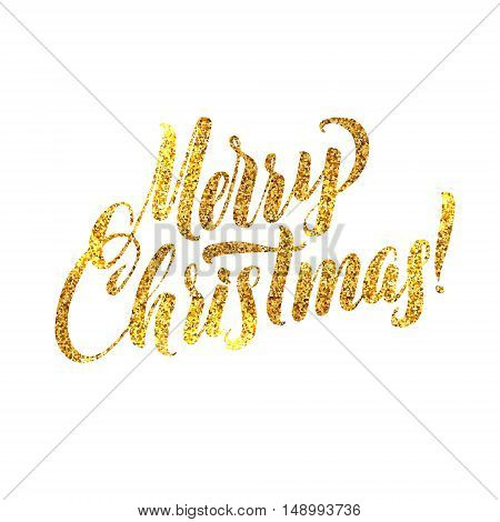 Gold Merry Christmas Card. Golden Shiny Glitter. Calligraphy Greeting Poster Tamplate. Isolated White Background Glowing Illustration
