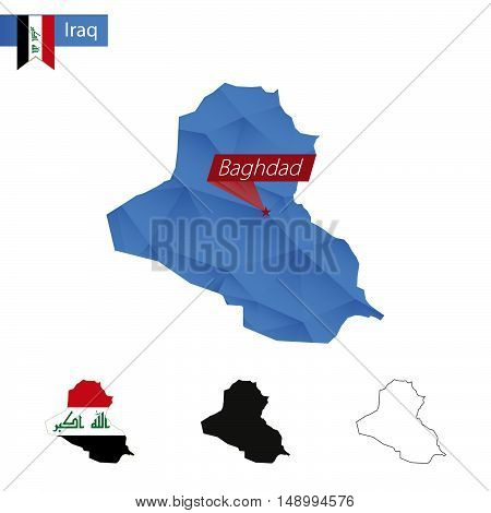 Iraq Blue Low Poly Map With Capital Baghdad.