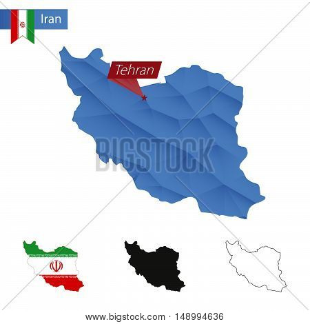 Iran Blue Low Poly Map With Capital Tehran.