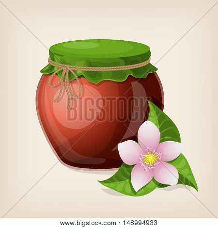 Jar of honey with leaves and a flower. Vector illustration.