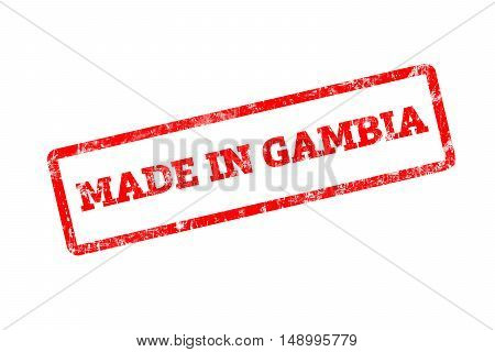 MADE IN GAMBIA, red rubber stamp with grunge edges.