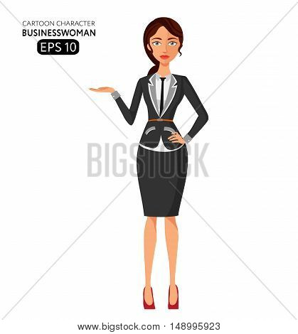 Business woman character flat cartoon vector illustration. Eps10. Isolated on a white background. Business lady presenting something