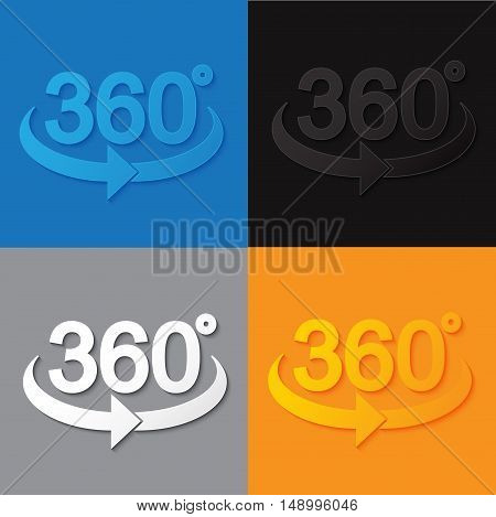 360 sign in 3d flat style with shade. Geometry math symbol.