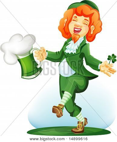Dancing Leprechaun With Goblet Of Green Beer.