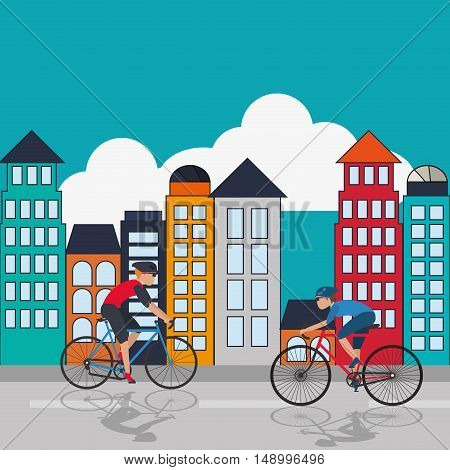 flat design cyclist with  city background image vector illustration