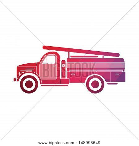 Retro fire truck on a white background. Fire truck. Vector illustration.