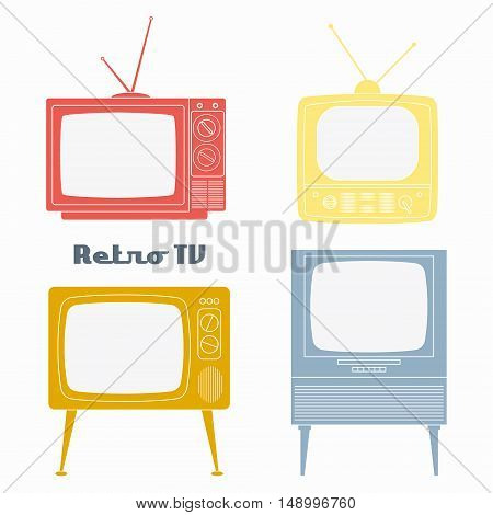Retro Television Icons. Vector illustration color retro tv set isolated on white background. Flat Design