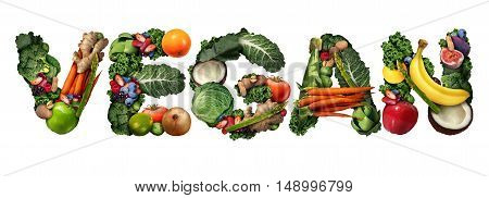 Vegan concept and veganism lifestyle icon as a group of fruit vegetables nuts and beans shaped as text isolated on a white background as a healthy diet symbol for eating green biological natural food.